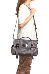 Mulberry Alexa Soft Buffalo Leather Satchel in Gray (grey) - Lyst