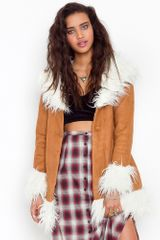 Nasty Gal Bridget Shearling Coat - Lyst