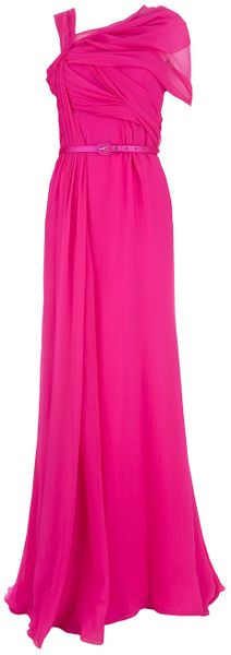 Oscar De La Renta Asymmetric Evening Gown in Pink