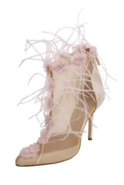 Oscar De La Renta Mesh Bootie with Feather and Floral Embroidery in Beige (nude/pnk) - Lyst