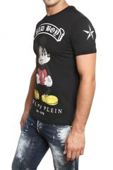Philipp Plein Mickey Mouse Swarovski Jersey Tshirt in Black for Men - Lyst