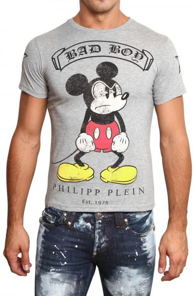 Philipp Plein Mickey Mouse Swarovski Jersey T-shirt in Gray for Men (grey)