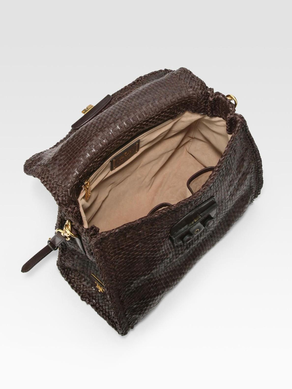 Prada Madras Top Handle Flap Tote Bag in Brown (darkbrown) | Lyst