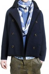 Pringle of Scotland Knit Wool Pea Coat - Lyst