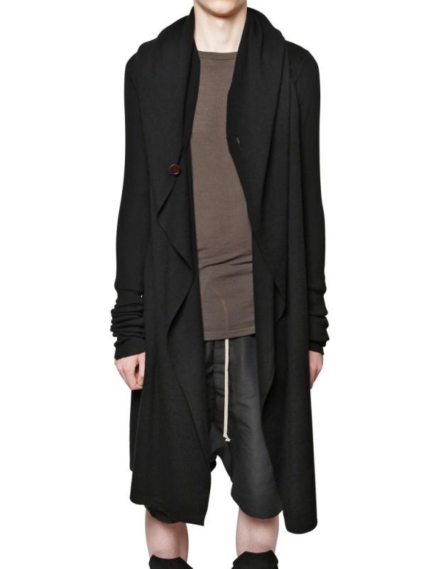 Rick owens Merino Wool Knit Hooded Sweater in Black for Men | Lyst