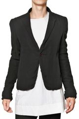 Rick Owens Silk Georgette On Silk Twill Short Jacket - Lyst