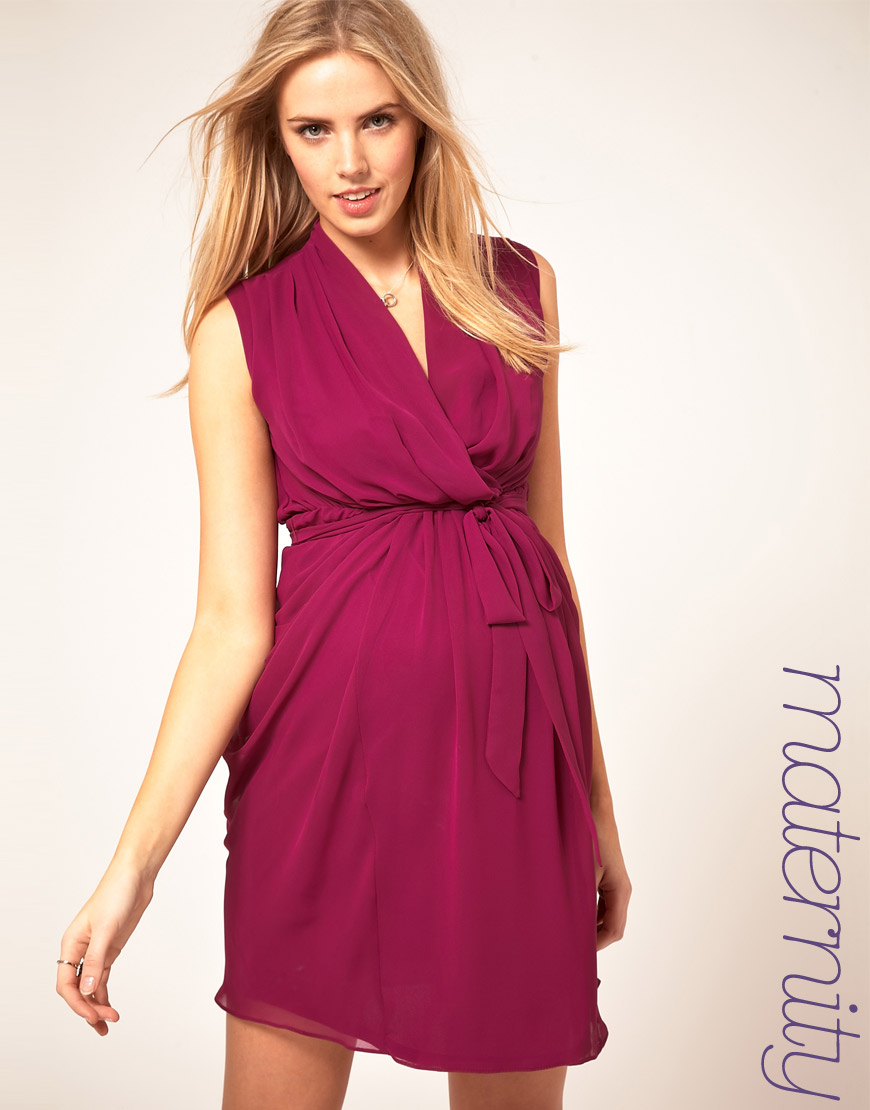 Asos maternity wrap dress with belt in pink lyst gallery ombrellifo Images