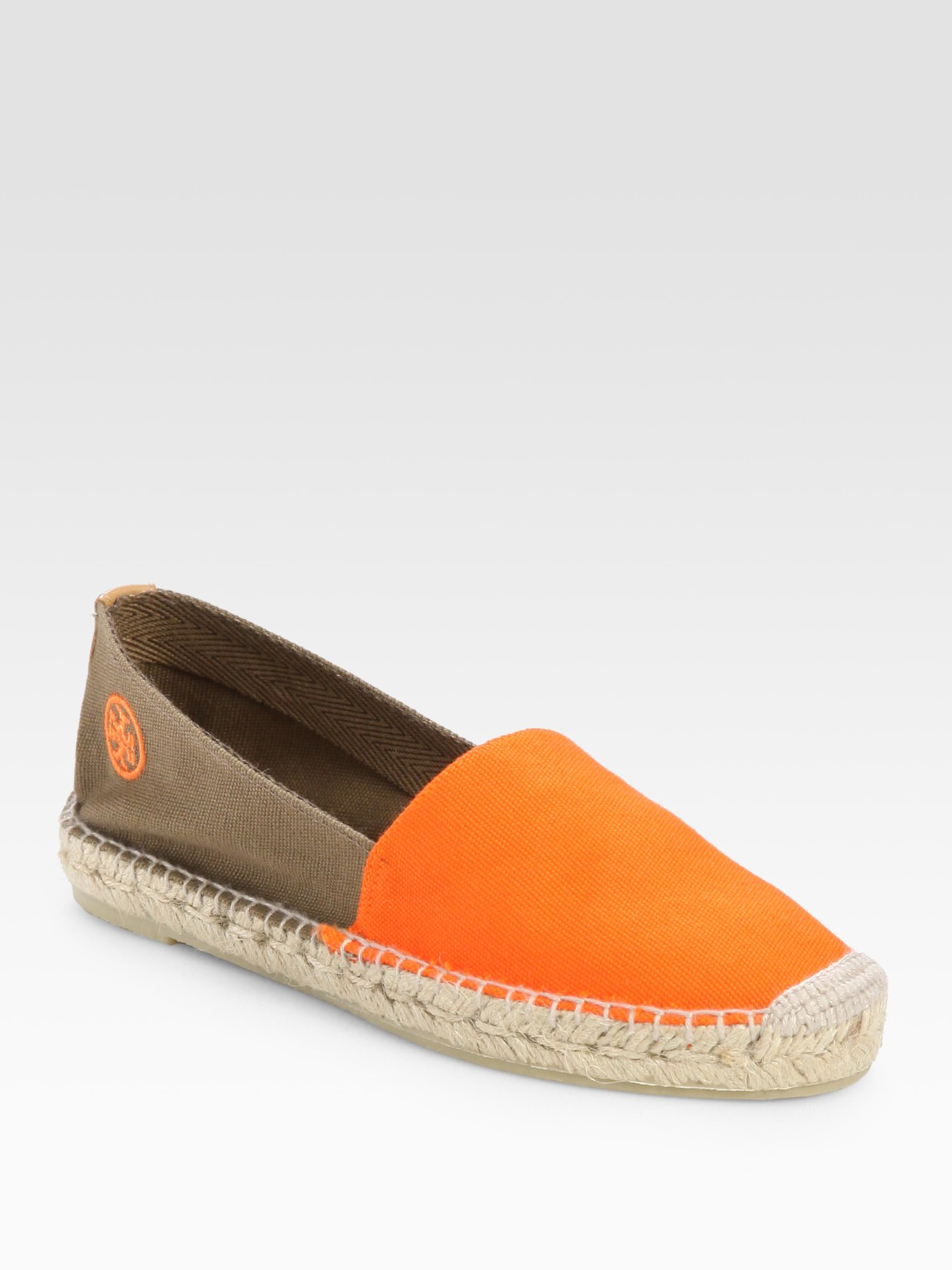 Tory Burch Two Tone Espadrille Canvas Slides In Orange