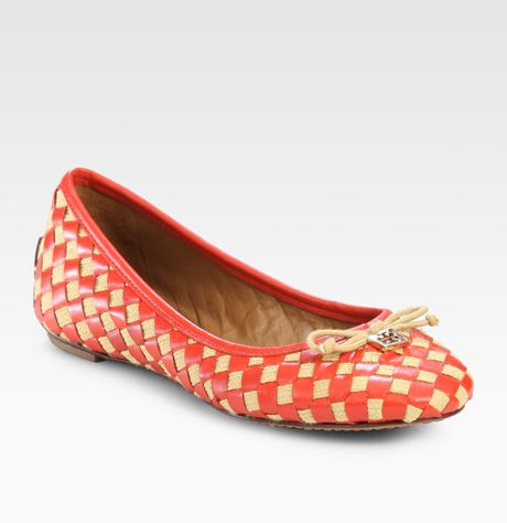 Tory Burch Prescot Woven Leather Bow Ballet Flats in Orange (natural-almond) - Lyst