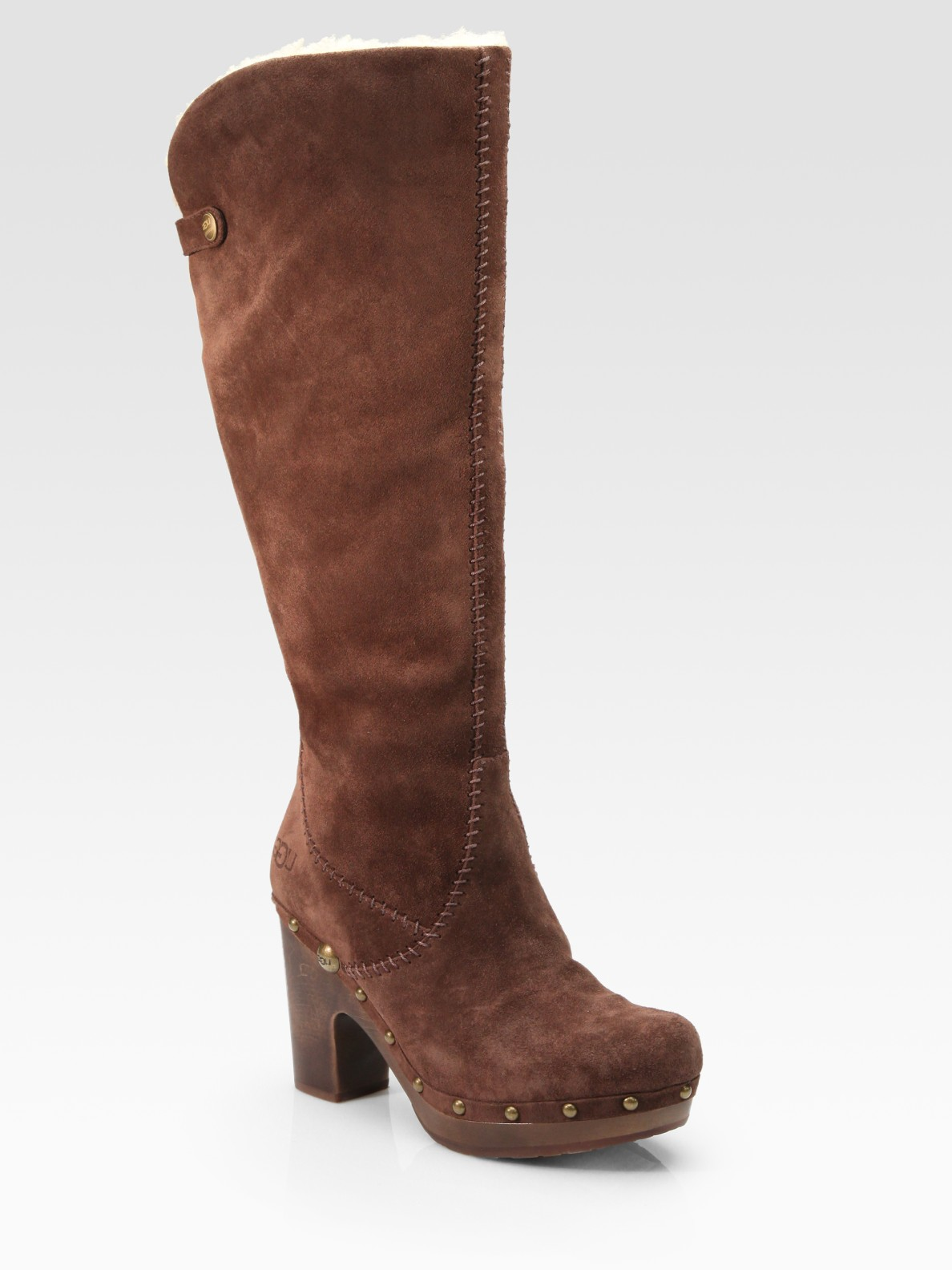 ugg lillian suede knee high clog boots in brown chocolate
