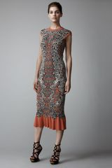 Alexander McQueen Barnacle Tea-length Dress - Lyst