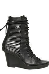 Ann Demeulemeester 90mm Washed Leather Laced Boot Wedges - Lyst