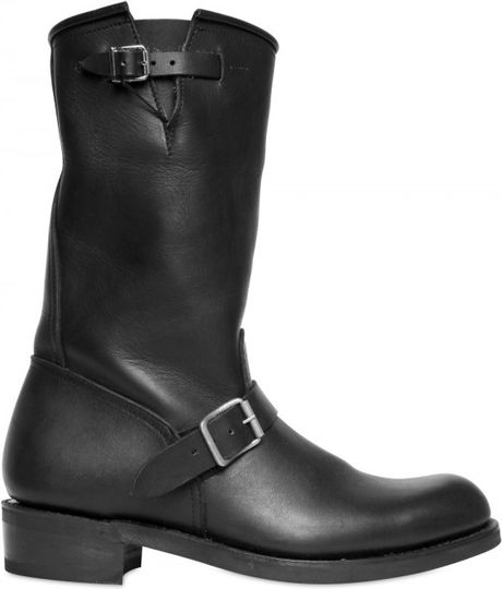 Balmain Double Belted Leather Boots in Black for Men - Lyst