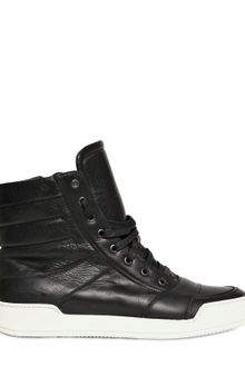 Balmain Zipped Calfskin High Top Sneakers - Lyst