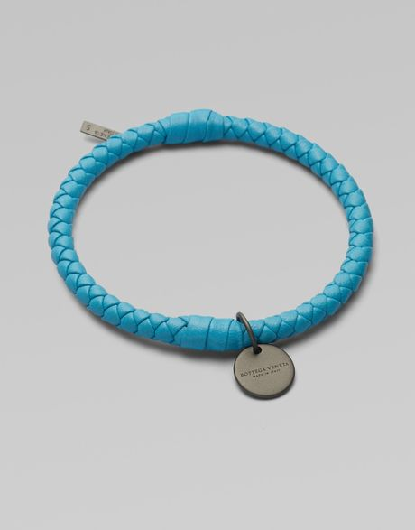 Bottega Veneta Braided Leather Bracelet in Blue (turquoise) - Lyst