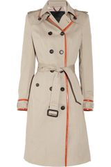 Burberry Prorsum Leather-trimmed Cotton-gabardine Trench Coat - Lyst