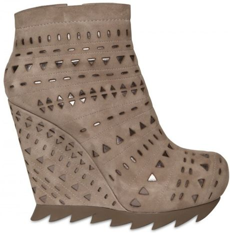 Camilla Skovgaard 150mm Lasered Suede & Metallic Wedges in Beige (sand) - Lyst