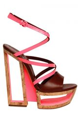 Casadei 150mm Leather & Patent Sculpture Wedges - Lyst