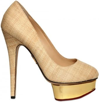 Charlotte Olympia 140mm Straw & Mirror Platform Pumps - Lyst