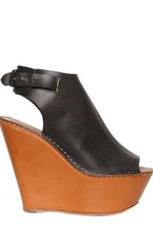 Chloé 130mm Leather Open Toe Wedges - Lyst