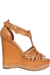 Chloé 100mm Leather T-bar Sandal Wedges - Lyst