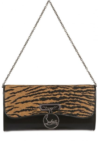 Christian Louboutin Riviera Panama Tiger Leather Clutch in Black - Lyst