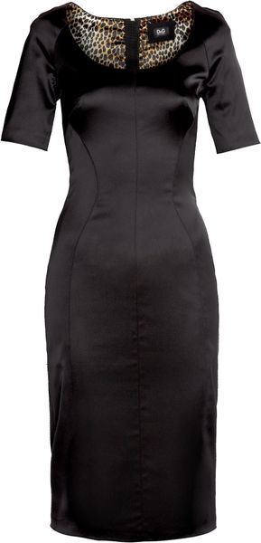 D&g Half Sleeve Contoured Satin Dress in Black - Lyst