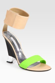 Diane Von Furstenberg Elan Colorblock Leather Wedge Sandals - Lyst