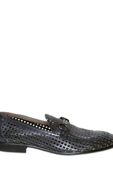 Dolce & Gabbana Leather Horsebit Mesh Loafers - Lyst
