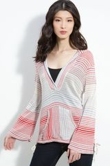 Ella Moss Bell Sleeved Striped Pullover Hoodie - Lyst