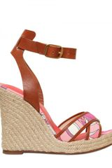 Emilio Pucci 110mm Printed Canvas & Leather Wedges - Lyst