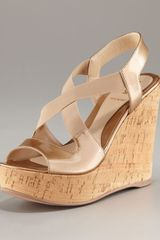Fendi Metallic Cork Wedge - Lyst
