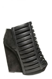 Gareth Pugh 120mm Suede and Leather Wedges - Lyst