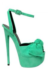 Giuseppe Zanotti 160mm Suede Bow Sandals in Blue (aqua) - Lyst