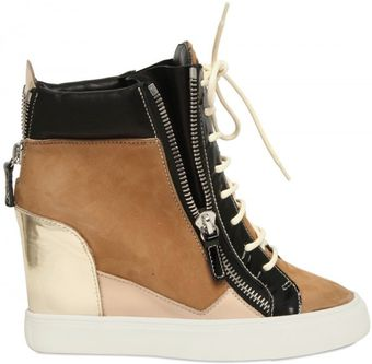 Giuseppe Zanotti 90mm Suede and Leather Sneaker Wedges - Lyst