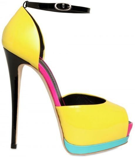 Giuseppe Zanotti 140mm Patent Peep Toe Sandals in Yellow - Lyst
