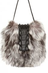 Hotel Particulier Crocodile Closure Fox Fur On Calfskin Shoulder Bag - Lyst