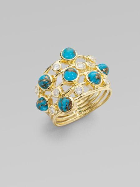 Ippolita bronze turquoise diamond 18k gold ring in gold for Mercedes benz 18k gold ring