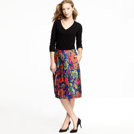 j crew pleated a line skirt in ashbury floral in blue