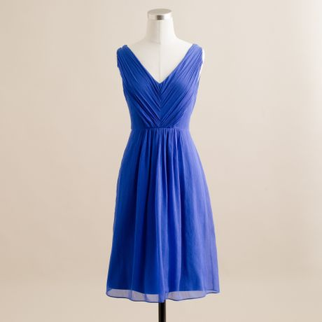 J.crew Louisa Dress in Silk Chiffon in Blue (casablanca blue) - Lyst