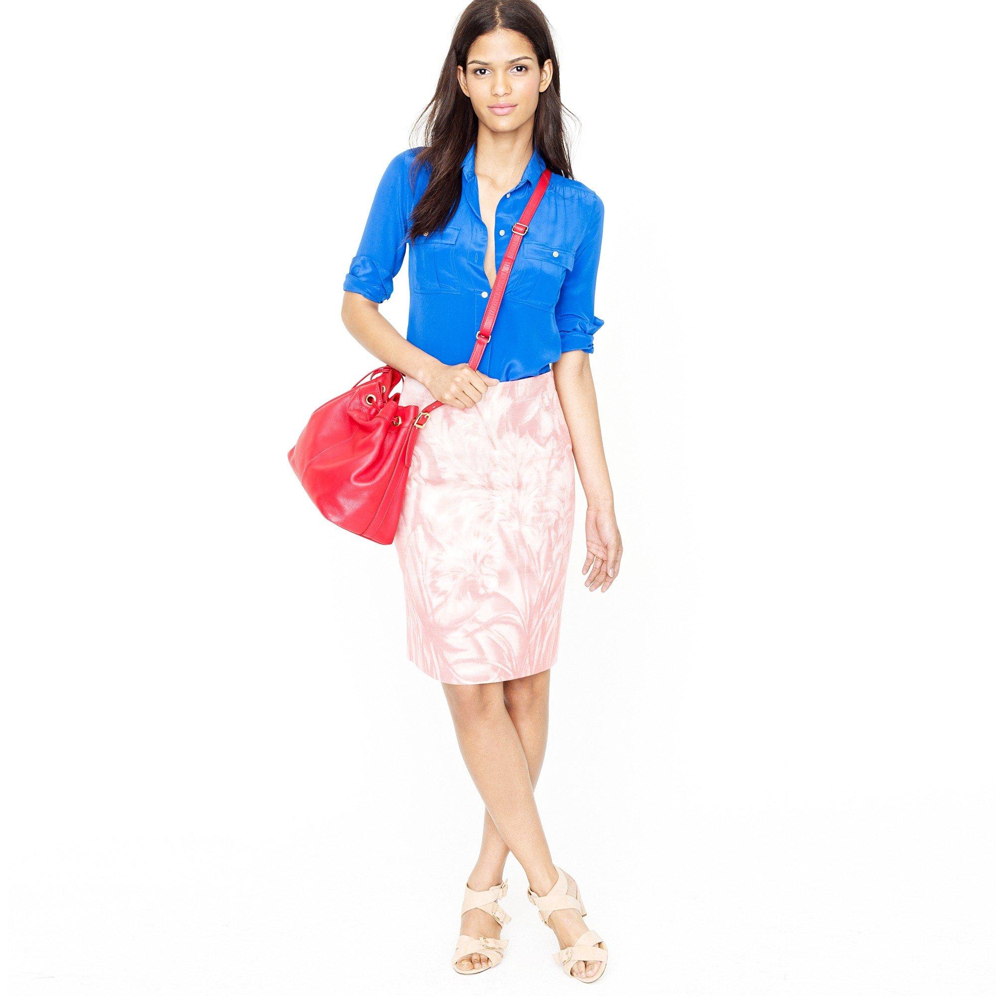 j crew no 2 pencil skirt in waterfloral in pink