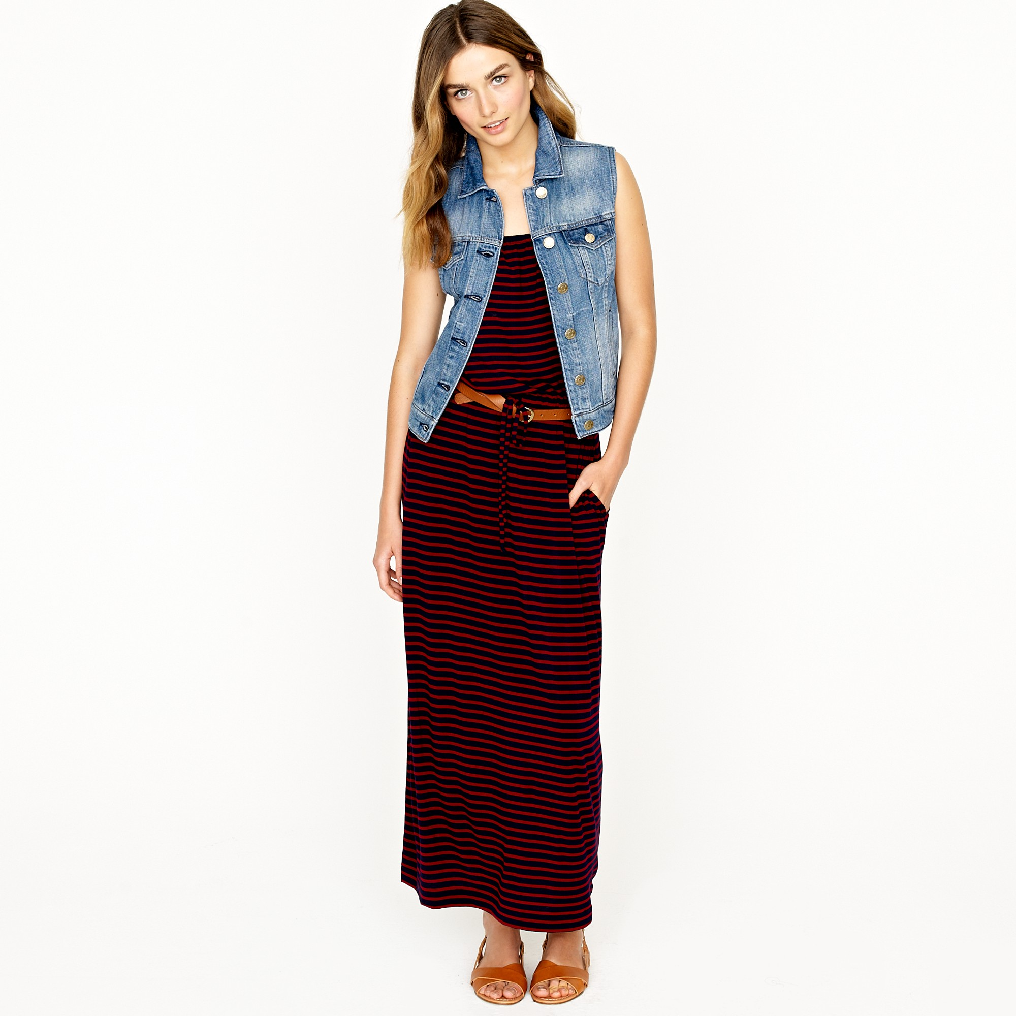 473eb1018b8 J.Crew Amie Knit Maxidress in Skinny Stripe in Purple - Lyst