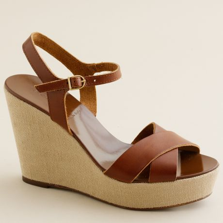 j crew lila leather platform wedges in brown toffee lyst