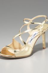 Jimmy Choo Paxton Strappy Metallic Sandal, Gold - Lyst