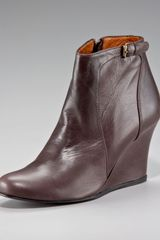 Lanvin Calfskin Wedge Ankle Boot - Lyst