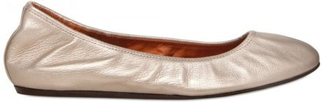 Lanvin Metallic Leather Ballerina Flats in Beige (silver) - Lyst