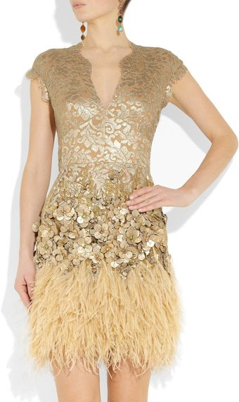Matthew Williamson Feather and Crystal-Embellished Lace Dress - Lyst