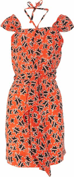 Miu Miu Printed Silk Crepe De Chine Dress in Red - Lyst