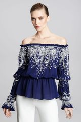 Naeem Khan Off-the-shoulder Embroidered Peasant Blouse - Lyst