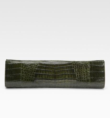 Nancy Gonzalez Razor CrocSkin Clutch in Green (olive) - Lyst